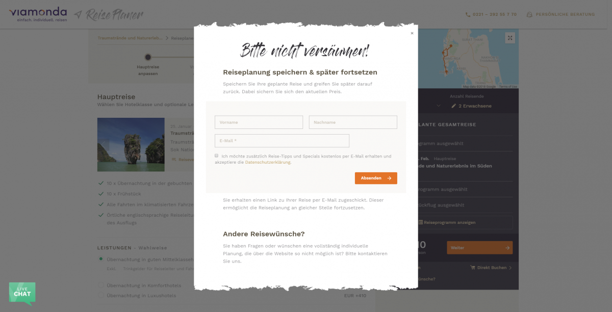 Bounce Rate optimieren - Exit Intent Modal Beispiel 2