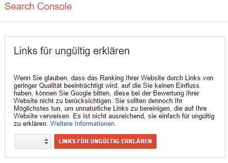 Link Disavow in der Search Console