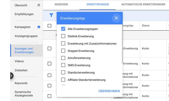 Anzeigenerweiterungen im Google Ads-Konto einrichten