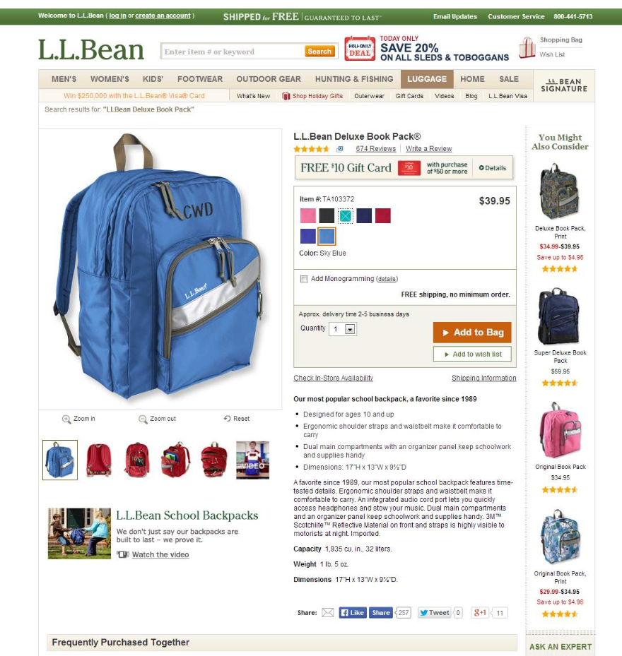 Highest Quality Page Example - Online Shop L.L.Bean