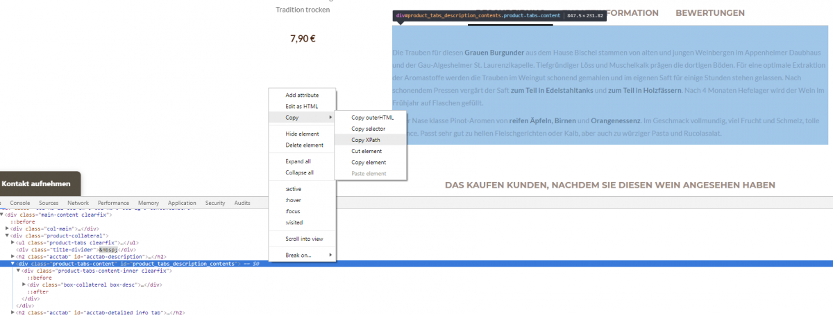 Screenshot XPath auslesen