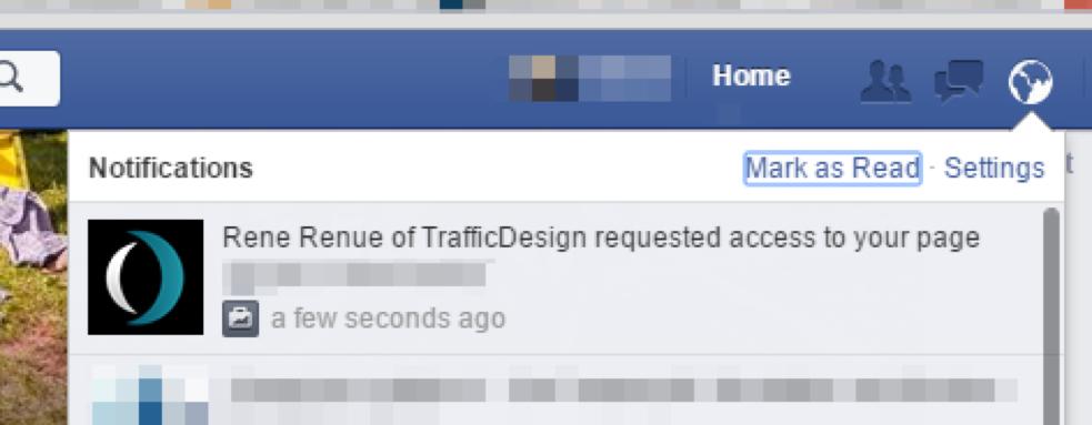 Facebook Benachrichtigung: Seitenzugriff