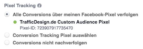 Auswahl des Conversion Tracking für Facebook Anzeigen