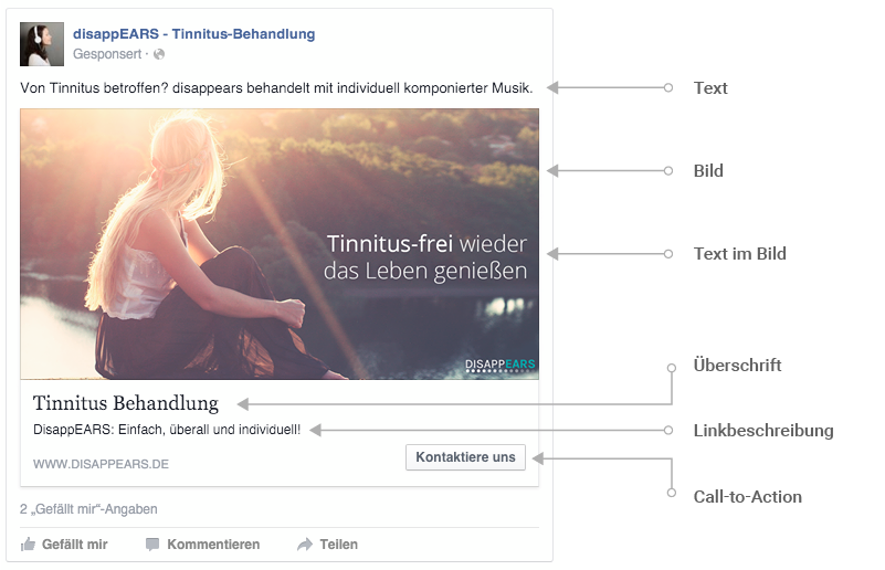 Facebook Werbung: Alle Elemente