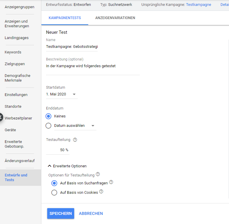 Google Ads: Einstellungen des Kampagnentests