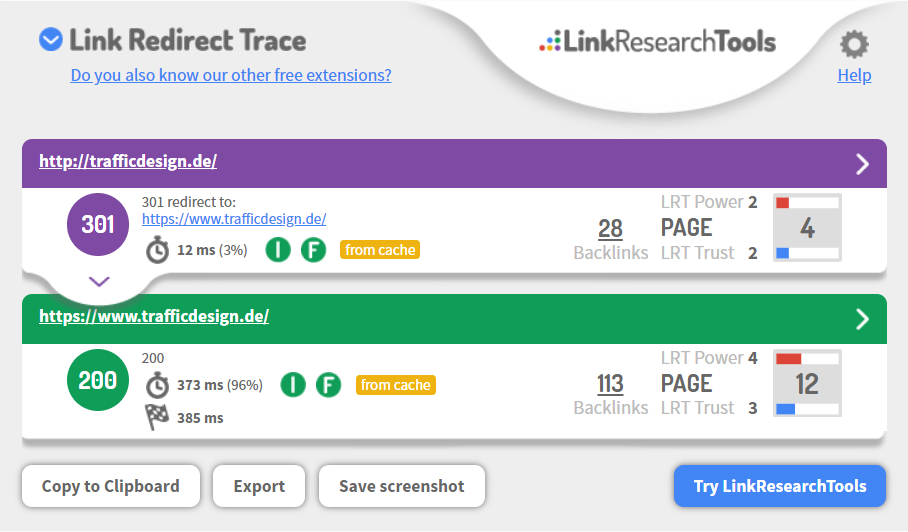 LRT Link Redirect Trace Chrome Browser Extension für SEO, Analyse von Redirects und Redirectketten
