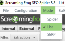 Screaming Frog List Mode konfiguration