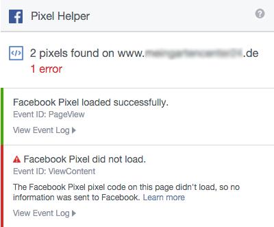 Screenshot: Facebook Pixel Helper