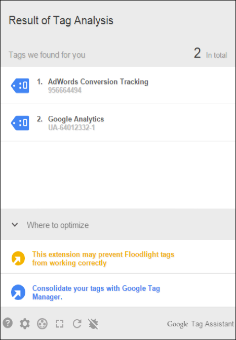 Screenshot: Google Tag Assistant