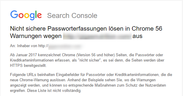 HTTPS Rankingsignal Warnung Google Search Console Chrome Passwörter Kreditkarteninformationen