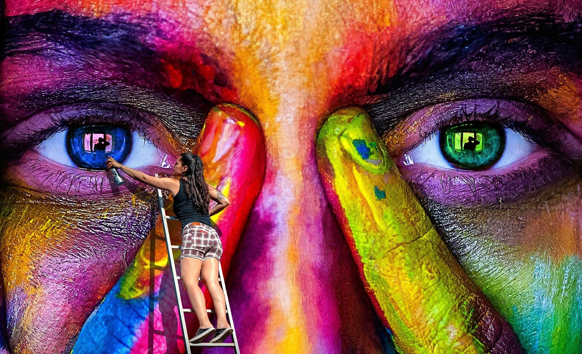 Buntes Graffiti Farben Malen